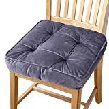 Big Hippo Chair Pads Square Cotton Chair Cushion with Ties Soft Thicken Seat Pads Cushion Pillow for Office,Home or Car Sitting 17' x 17'(Grey)