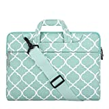 MOSISO Laptop Shoulder Bag Compatible with 15 inch MacBook Pro Touch Bar A1990 A1707, 14 HP Acer Chromebook, 2019 Surface Laptop 3 15, Canvas Quatrefoil Pattern Briefcase Sleeve Case, Turquoise