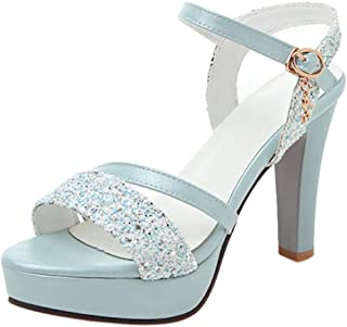 TAOFFEN Women Sexy High Heels Summer Shoes Ankle Strap