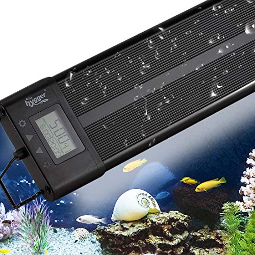 Aquarium Programmable LED Light, Full Spectrum Plant Fish Tank Light Extendable Brackets with LCD Setting Display, IP68 Waterproof, 7 Colors, 4 Modes