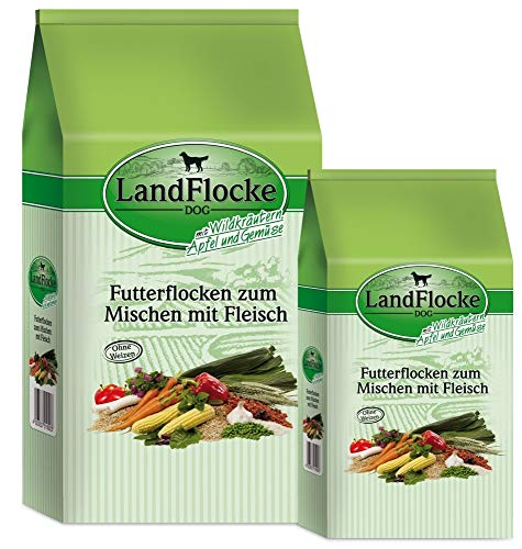 Landfleisch Landflocke Wildkräuter-Apfel-Gemüse 7,5 kg Hundebeifutter Hundeflocken