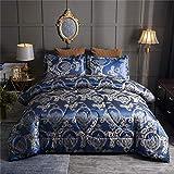 Raytrue-X Queen-Bettwäsche-Set, Satin, Seide, für alle Jahreszeiten, Königsblau, Tagesdecke, Luxus-Jacquard-Bettwäsche, Bettwäsche-Sets mit 2 Kissenbezügen, 223,5 x 223,5 cm, 3-teilig