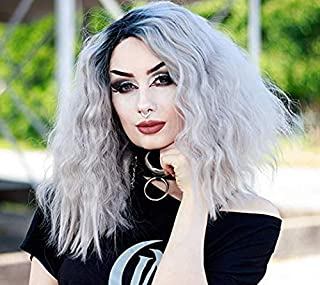 Goodyard Peach Icicle Silver Lace Front Wigs, Short Loose Curl For Fashion Girls, Ombre Black to Grey Color Style
