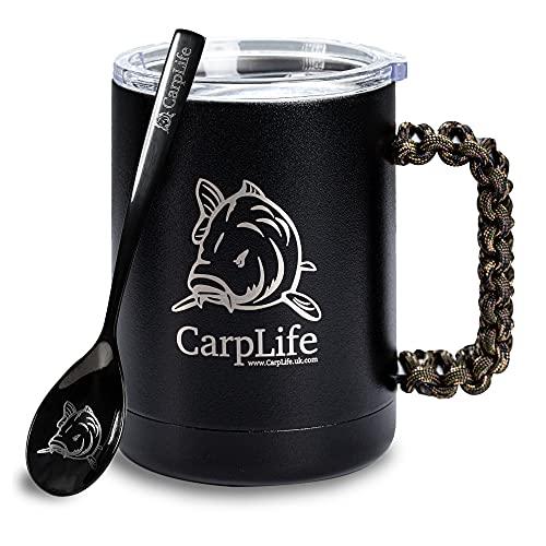 CarpLife Thermobecher mit Löffel Angler – Edelstahl-Thermobecher mit Deckel und geätztem Carpy-Löffel