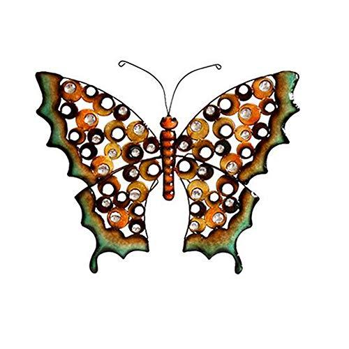 DMMFU Hierro Mariposa Escultura De Pared,Colorido Metal Mariposa Jardín Ornamento Decoración,Arte Yarda Estatua,Interior Exterior Césped Artee De Pared Iron 63 * 52cm(24.8 * 20.5in)