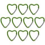 BB Sport Mousquetons Porte clés 10 pièces en Aluminium Multicolore Crochet Camping, randonée, Sac de Montagne, Couleur:Vert