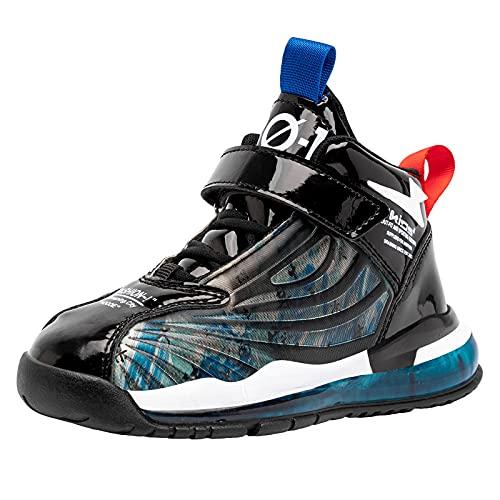 Zapatillas De Deporte De Moda para Niños Zapatillas Deportivas Niños Zapatillas De Baloncesto Transpirables con Amortiguador,Azul,34 EU