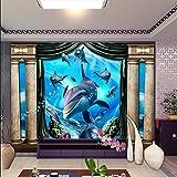 Fondo De Pantalla 3D Decoración Del Hogar Fondo De Imagen Azul Delfines Submarino Hotel Restaurante Sala De Estar Fresco Panel 430 * 300Cm