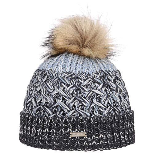 Seeberger Multimelange Wool Bommelmütze Pudelmütze Wintermütze Beanie Damenmütze Strickmütze (One Size - hellblau)