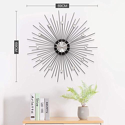 Kristall dekorative Uhr, große moderne einfache nicht tickende Wanduhr 3d Silent wunderschöne Kristalluhr für Wohnzimmer Silber 69x69cm (27x27inch)