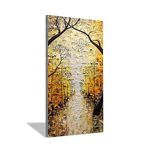 RUIQIN Pintura em tela de paisagem abstrata moderna para sala de estar, sala de jantar, arte de parede pintada à mão, pintura a óleo, 60 x 120 cm, sem moldura