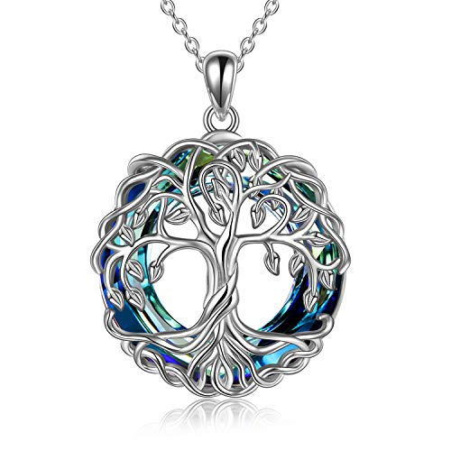 POPLYKE Tree of Life Necklace Jewelry for Women Sterling Silver Celtic Knot Family Tree Pendant with Blue Circle Crystal Irish Jewelry Gifts for Mom Daughter Birthday Christmas (Blue)