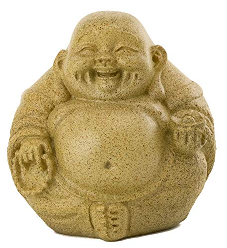 Top Collection Mini Happy Buddha Laughing Statue - Hand Painted Essence of Joy Big Belly Buddha in Sandstone Finish - 3.25Inch Collectible East Asian New Age Lucky Buddha Figurine