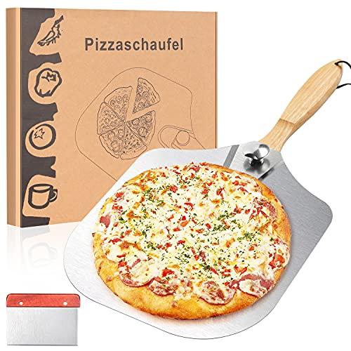 Pala para pizza de aluminio para la barbacoa o el horno, pala para pizza para horno, horno de pizza de gas con práctico mango plegable