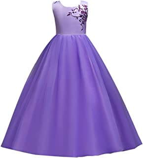 a39f9c5a34f IBTOM CASTLE Kids Tulle Flower Long Dresses for Girl 7-16 Pageant Princess  Party Fall