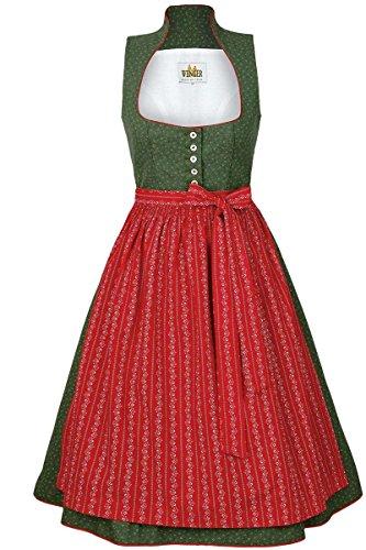 Wenger Austrian Style Damen Baumwoll-Wasch-Dirndl midi grün rot, 68-GRÜN, 38