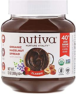 Nutiva Organic, non-GMO, Vegan Hazelnut Spread , Classic Chocolate, 13-ounce