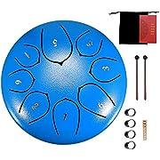 AEUWIER Steel Tongue Drum - 8 Notes 6 Zoll Percussion Instrument Handpan Drum mit Reisetasche, Mallets, Musikbuch, Fingerabdeckung, Aufkleber