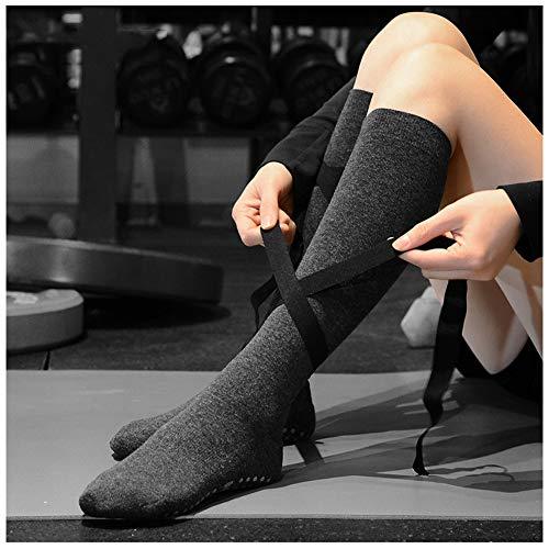 Compressiekousen, 3 paar voor dames, yoga-sokken, hoge stropdassen, de beste vliegsokken voor scheenbeschermers, beenpijn/stropdassen, sterk Grijs