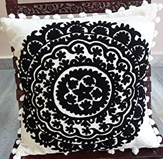 Trade Star Exports Suzani Cushion Cover 24x24, Black and White Euro Pillow Shams, Indian Outdoor Cushions, Pom Pom Pillowcases, Decorative Throw, Embroidered Pillows