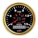 """QPLKL Auto indicatore della Temperatura dell'Acqua Tachimetro 15Knots di GPS dell'automobile del Motociclo di 3-3/8""""85MM con l'esposizione di Cog della Lampadina per Auto e Camion"""