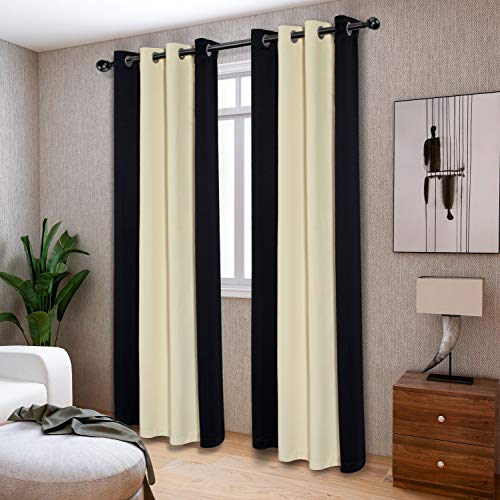 LORDTEX Color Block Blackout Curtains for Bedroom - Insulated Thermal Drapes, Sun Light Blocking & Noise Reducing Grommet Window Panels for Living Room, Set of 2 Panels, 50 x 63 Inch, Black/Cream
