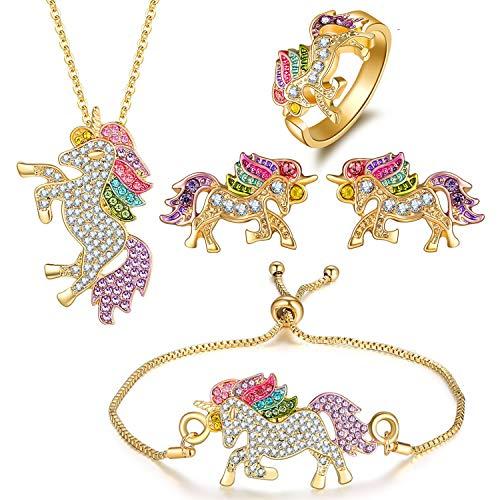 Beuya Unicornio Conjuntos de Joyas de Boda para Mujer, Fashion Collar con...