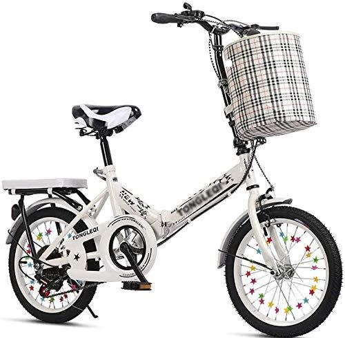 Xiaoyue Fahrräder Falten Freien Erwachsene Fahrrad-Kurier Fahrrad 5~13 Jahre alt Verschiebung Fahrrad 16 Zoll / 20 Zoll Übungsfahrrad Schöne Fahrrad lalay (Color : Wei, Size : 20inches)