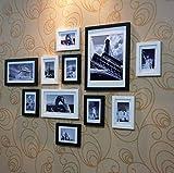 Madera Photo Picture Frame Set-montado en la pared Inicio Mall-moderna de madera Portarretratos pared + fotos + Marcos combinado de Corredor de la sala + Juego de 11, Marco de madera de múltiples imág