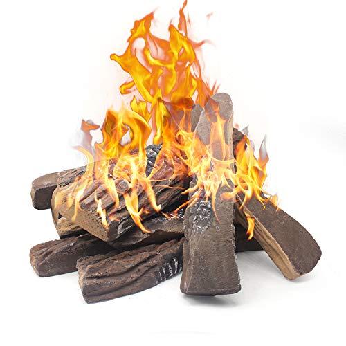 Gaskamin Protokolle, 10 Stück große künstliche Kamin Protokolle, Mr. Ton dekorative Keramik Holz Holz Set für Indoor Outdoor Gas Einsätze, belüftet, ventless, elektrisch, Ethanol, Gel Kamine