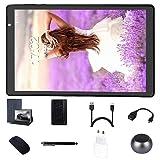 Tablet 10 Pollici Android 10 Quad - Core SIM Tablet PC con 4 GB RAM+ 64 GB ROM Espansione SD da 128 GB 8000mAh WIFI GPS Doppia Fotocamera 5MP+8MP Nero (Nero)