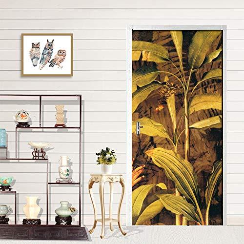 Art Doors Sticker Handgeschilderde Banana Leaves Deur Verf Slaapkamer Woonkamer Deur Decoratieve Pvc Muursticker 3D Behang Muurschildering