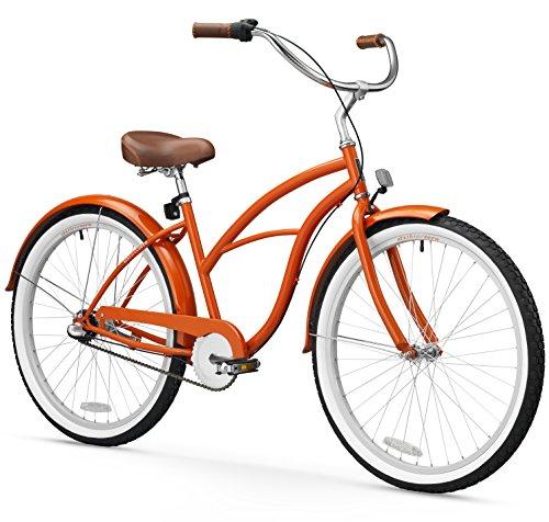 sixthreezero Women's 1-Speed 26-Inch Beach Cruiser Bicycle, Dreamcycle Orange w/Brown Seat/Grips