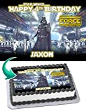 Cakecery Darth Vader Star Wars Edible Cake Image Topper Personalized Birthday Cake Banner 1/4 Sheet