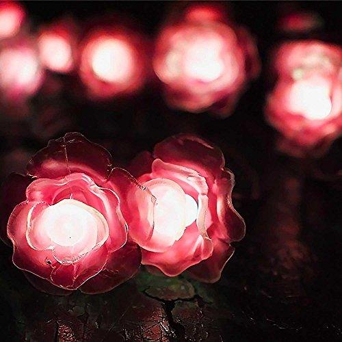 XZB Coloured Solar String Lights,20 LED Rose Flower Party Light Solar Garden Lights Waterproof Decorative Lighting For Garden Patio Yard Wedding Home ChristmasTree Parties (Multicolor Rose Flower)