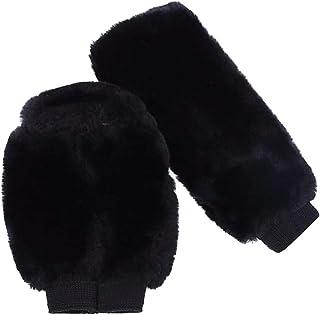 Baosity Pair Soft Breathable Plush Gear Shift Cover Handbrake Sleeve Auto Decor - Black