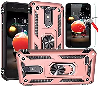 LG Aristo 3 Case, LG Aristo 2 /LG Tribute Dynasty Case With Tempered Glass Screen Protector, L00KLY Hybrid Dual Layer 360 Degree Rotating Ring Holder Kickstand Case with Magnetic Car Mount (Rose Gold)