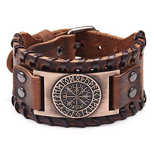Pulsera vikinga marrón – Pulsera ajustable con brújula Vegvisir Amuleto nórdico – Joyería celta pagana del talismán
