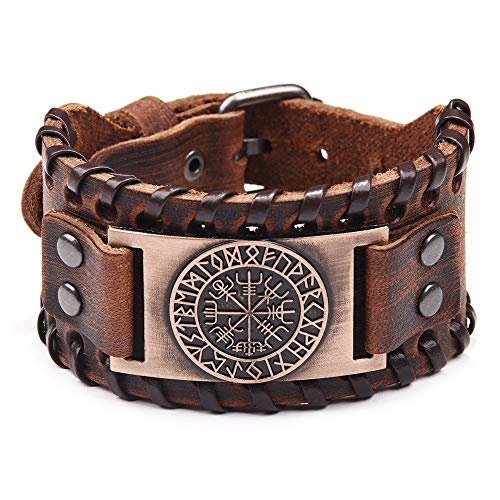 Viking Bracelet Norse Vegvisir - Nordic Bracelet with Runic Compass - Celtic Pagan Jewelry of Talisman (Vegvisir Bronze)