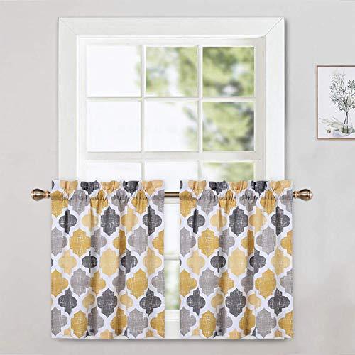 CAROMIO Cafe Curtains 24 Inch Length, Quatrefoil Trellis Printed Cotton Blend Short Farmhouse Kitchen Curtains Small Half Window Curtains for Bathroom, Yellow/Grey