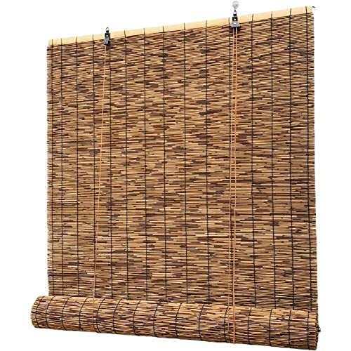 SANJIANG Carbonization Bambus Rollo Translucent/Anti-UV/Handgewebte Reed Vorhang Retro Dekorative Bambus Roll Up Fenster Outdoor Patio Blind Sonnenschirm,1.2x3m