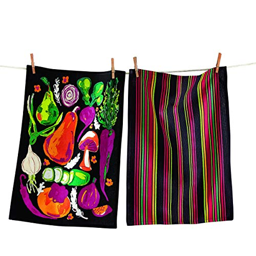 tag Veggie Flour Sack Dishtowel Set of 2 Black