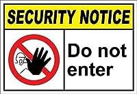 セキュリティ通知を入力しないでください。金属スズサイン通知道路交通危険警告耐久性、防水性、防錆性