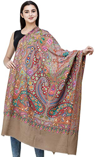 Exotic India Pashmina chal de cachemira puro de color gris claro con papier-Ma, color marrón