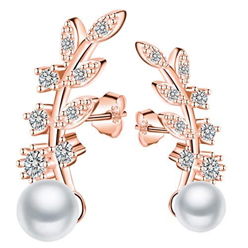 MICGIGI Orecchini da donna eleganti a forma di foglia, in argento Sterling 925 con zirconi, perla da 5 mm (oro rosa)