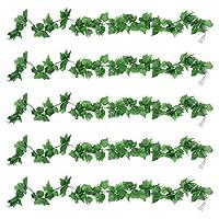 OUNONA 5Pcs人工つる緑ガーランドフェイクシルクブドウの葉ぶら下げつる偽の植物結婚式の背景アーチ壁ジャングルパーティーテーブルオフィス装飾(緑)