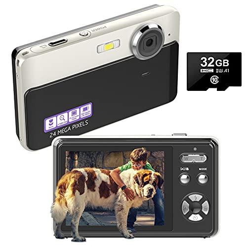 Digitalkamera Kompaktkameras 24MP Wiederaufladbare 2,4 Zoll TFT-Bildschirm Fotoapparat Digitalkamera mit 32 GB SD-Karte und Digitalkameras für Anfänger, Jugendliche, Kinder