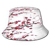 Sombrero de Pesca,Cortina de baño Floral Rosa, Juego de Cortinas de Ducha de Flor de Cerezo con 12 Ganchos,Senderismo para Hombres y Mujeres al Aire Libre Sombrero de Cubo Sombrero para el Sol