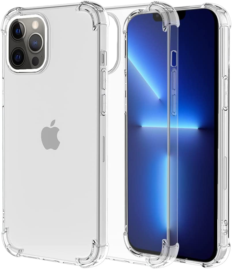 ROSAUI for iPhone 13 Case Crystal Clear Transparent Reinforced Corners TPU Cushion Soft Bumper Slim Shockproof Protective Phone Cover Anti-Scratch Case for iPhone 13 (Transparent)