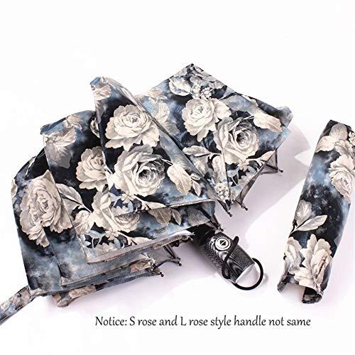 SJZS Regenschirm Kreative japanische Blumen-Regenschirm-Regen Frau windundurchlässiges Retro-Ölgemälde Rose DREI Folding Automatische Weibliche Regenschirme (Color : L Rose Style)